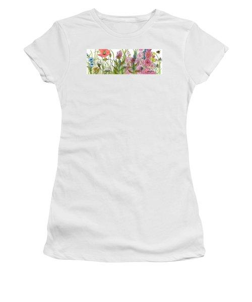 Cottage Hollyhock Garden Women's T-Shirt