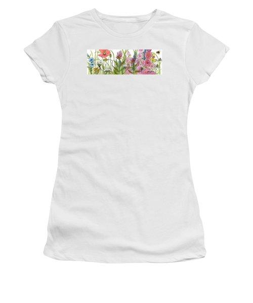 Cottage Hollyhock Garden Women's T-Shirt (Athletic Fit)