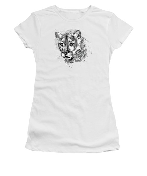 Women's T-Shirt (Junior Cut) featuring the mixed media Cougar Head Black And White by Marian Voicu