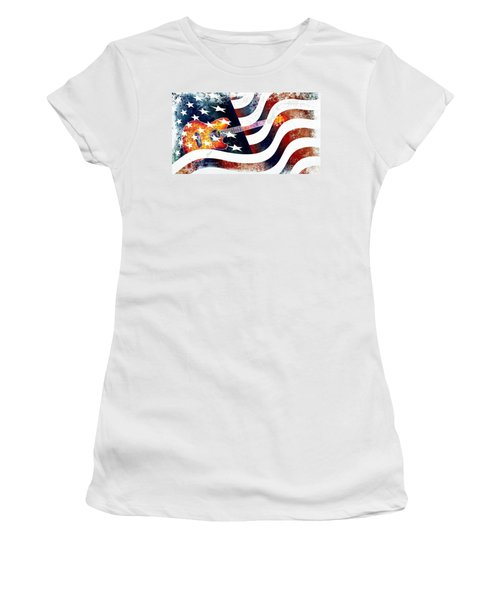 Country Music Guitar And American Flag Women's T-Shirt (Junior Cut) by Annie Zeno