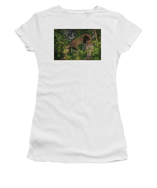 Women's T-Shirt (Athletic Fit) featuring the photograph Covered Bridge by Lewis Mann