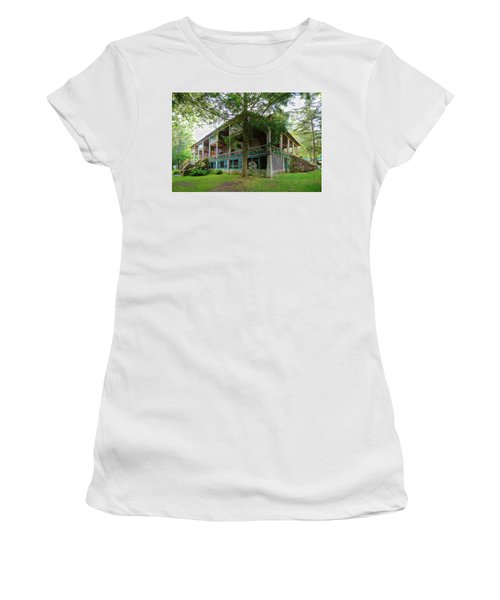 Women's T-Shirt (Athletic Fit) featuring the photograph Covewood Lodge On Big Moose Lake by David Patterson
