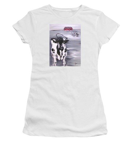 Cow In Winter Women's T-Shirt (Junior Cut) by Terri Einer