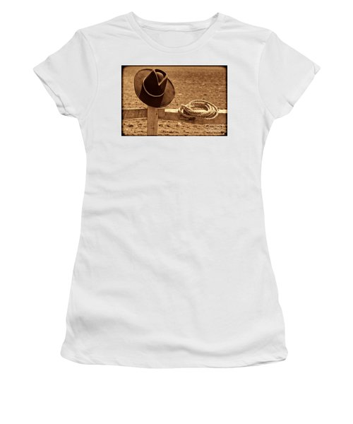 Cowboy Hat And Rope On A Fence Women's T-Shirt