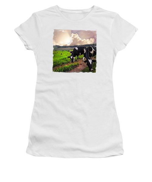 Cows At Sunset Bordered Women's T-Shirt (Junior Cut) by Debra and Dave Vanderlaan