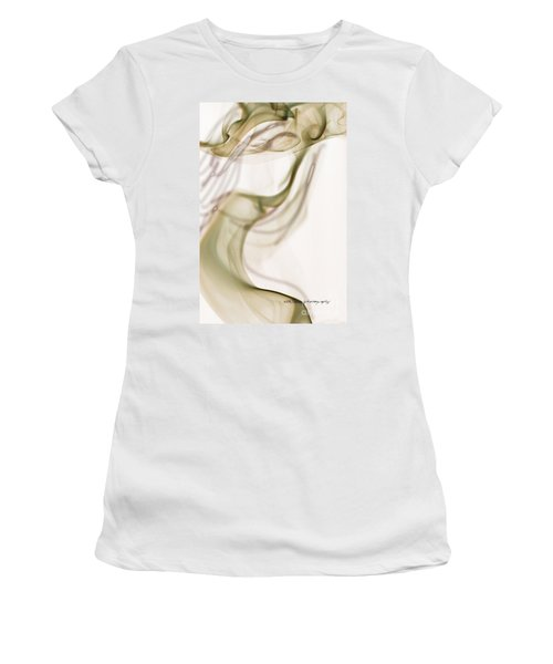 Women's T-Shirt (Junior Cut) featuring the photograph Coy Lady In Hat Swirls by Vicki Ferrari