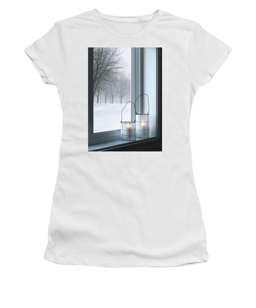 Cozy Lanterns And Winter Landscape Seen Through The Window Women's T-Shirt (Athletic Fit)