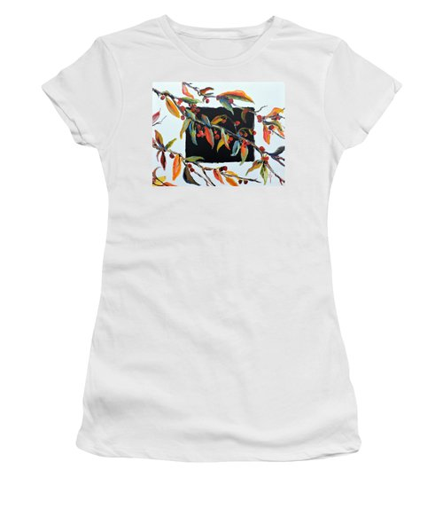 Crabapple Branches With Black Women's T-Shirt (Junior Cut)