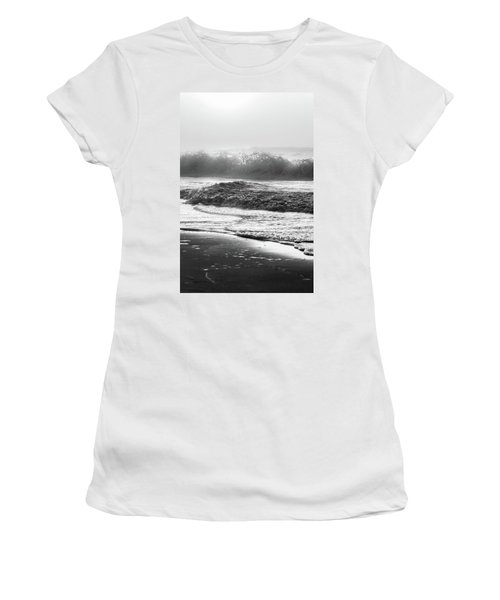 Women's T-Shirt (Junior Cut) featuring the photograph Crashing Wave At Beach Black And White  by John McGraw