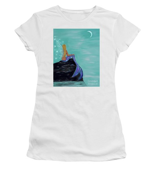 Women's T-Shirt (Athletic Fit) featuring the painting Crescent Mermaid Moon Fairy by Leslie Allen