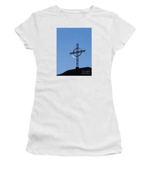 Crescent Moon And Cross Women's T-Shirt