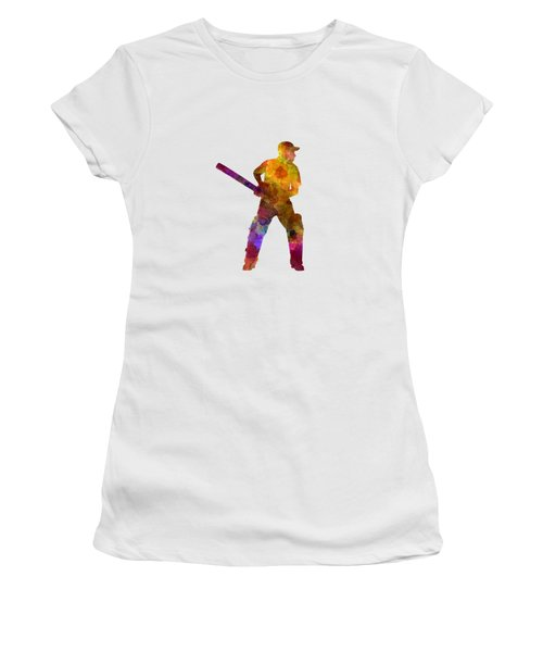 Cricket Player Batsman Silhouette 07 Women's T-Shirt (Junior Cut) by Pablo Romero