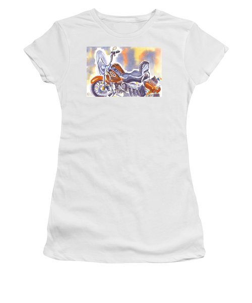 Crimson Motorcycle In Watercolor Women's T-Shirt (Junior Cut) by Kip DeVore