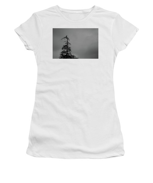Crow Perched On Tree Top - Black And White Women's T-Shirt (Athletic Fit)