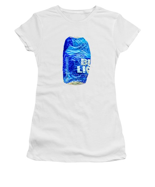 Crushed Blue Beer Can On Plywood 78 Color On Bw Women's T-Shirt