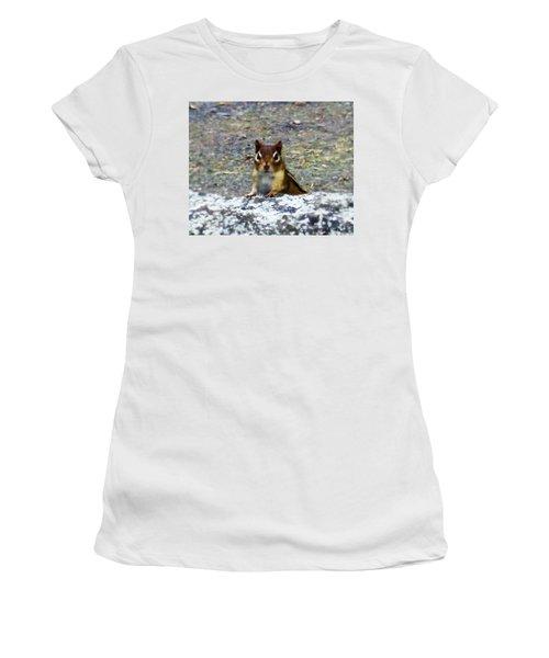 Curious Chipmunk Women's T-Shirt (Junior Cut) by Paul Meinerth