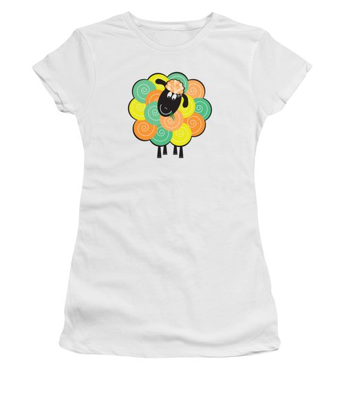 Curlier The Sheep Women's T-Shirt (Athletic Fit)