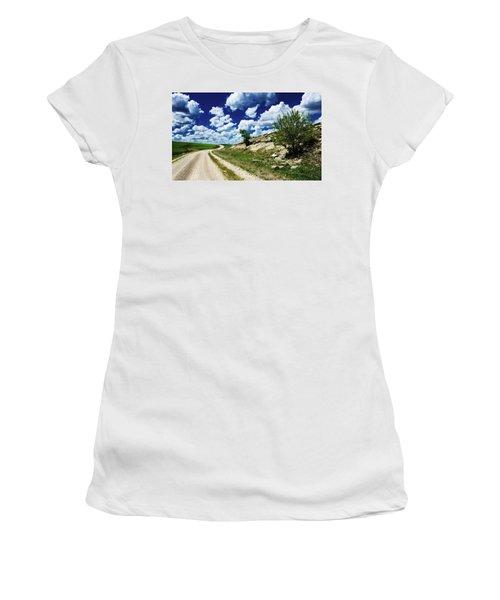 Curving Gravel Road Women's T-Shirt (Athletic Fit)