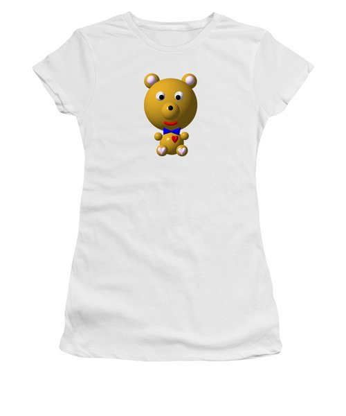 Cute Bear With Bow Tie Women's T-Shirt (Junior Cut) by Rose Santuci-Sofranko