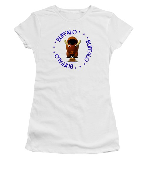 Cute Buffalo With Beef On Weck And Buffalo Wings Women's T-Shirt (Junior Cut) by Rose Santuci-Sofranko