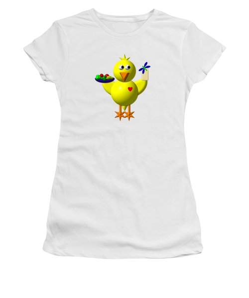 Cute Canary With Salad And Milk Women's T-Shirt (Athletic Fit)