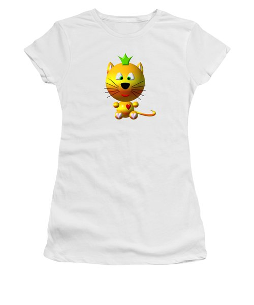 Women's T-Shirt featuring the digital art Cute Cat With Crown by Rose Santuci-Sofranko