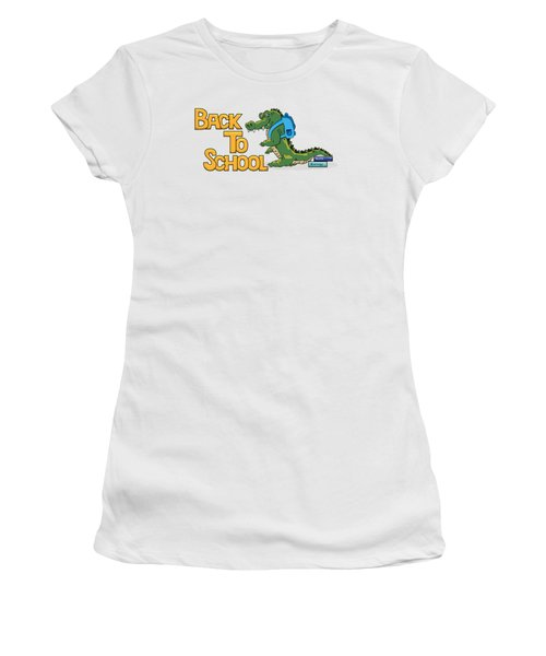 Cute Crocodile With Briefcase Women's T-Shirt (Athletic Fit)