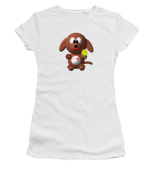 Women's T-Shirt featuring the digital art Cute Dog With Dandelion by Rose Santuci-Sofranko