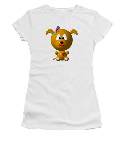 Women's T-Shirt featuring the digital art Cute Dog With Dragonfly by Rose Santuci-Sofranko
