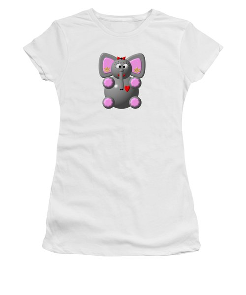 Cute Elephant Wearing Earrings Women's T-Shirt (Athletic Fit)