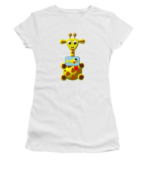 Cute Giraffe With Goldfish Women's T-Shirt