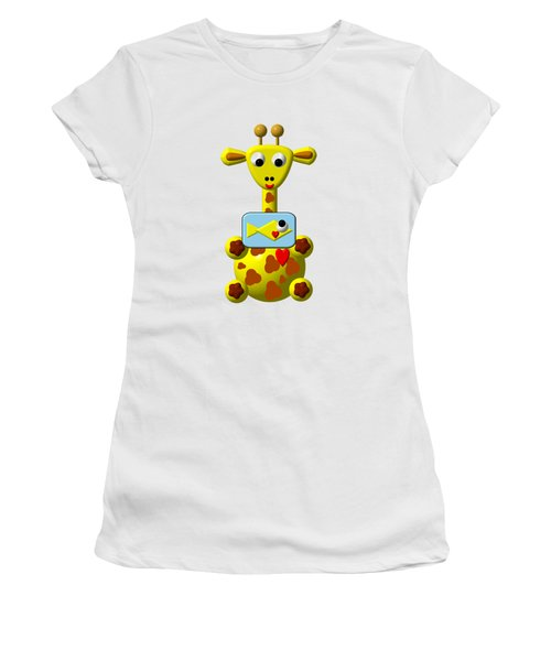 Women's T-Shirt featuring the digital art Cute Giraffe With Goldfish by Rose Santuci-Sofranko