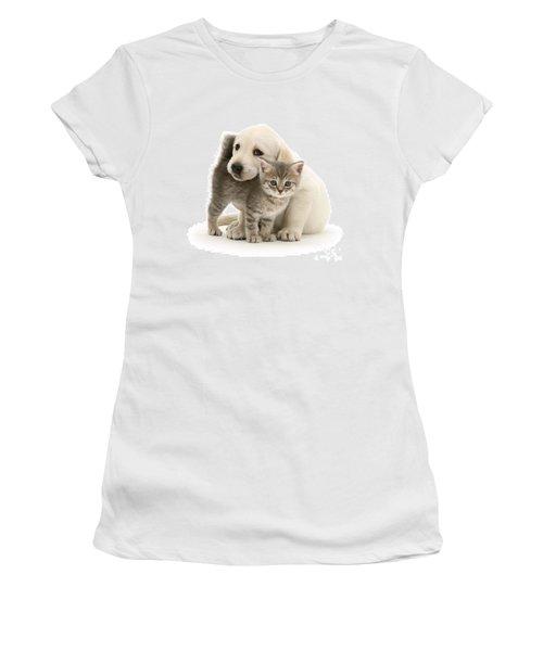 Cute Kitten And Perfect Puppy Women's T-Shirt