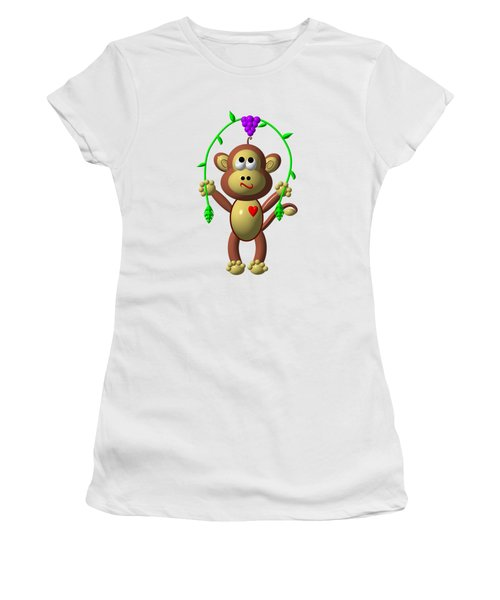 Cute Monkey Jumping Rope Women's T-Shirt (Junior Cut) by Rose Santuci-Sofranko