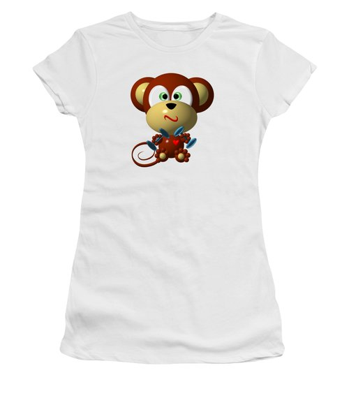 Women's T-Shirt featuring the digital art Cute Monkey Lifting Weights by Rose Santuci-Sofranko