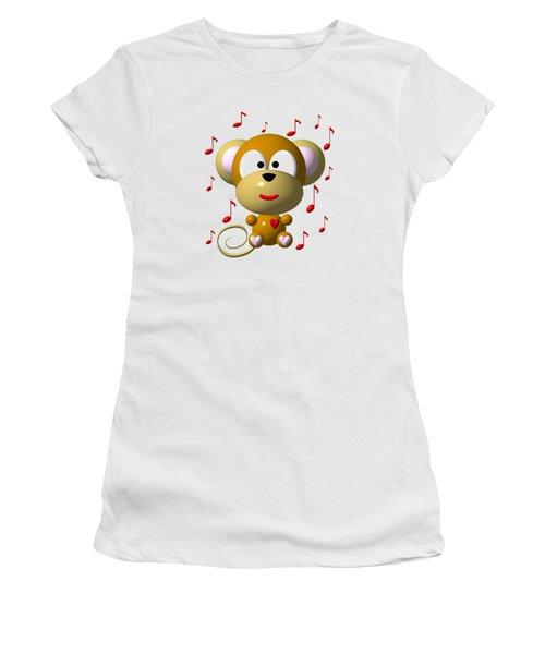 Cute Musical Monkey Women's T-Shirt (Junior Cut) by Rose Santuci-Sofranko
