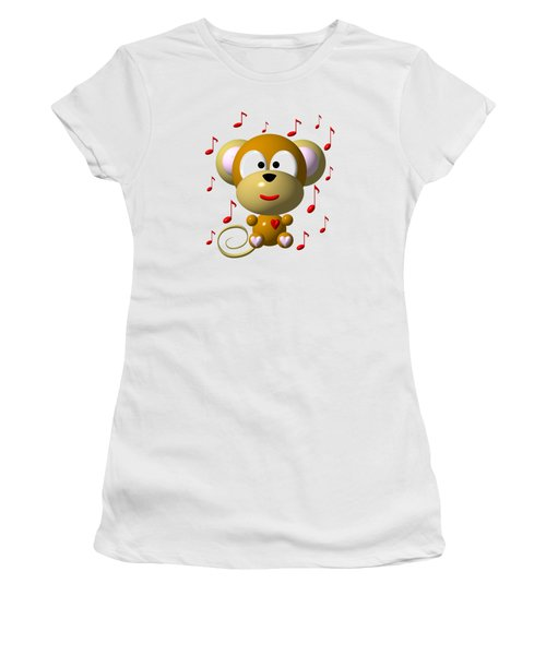 Cute Musical Monkey Women's T-Shirt (Athletic Fit)