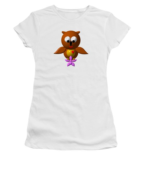 Cute Owl With Orchid Women's T-Shirt (Athletic Fit)