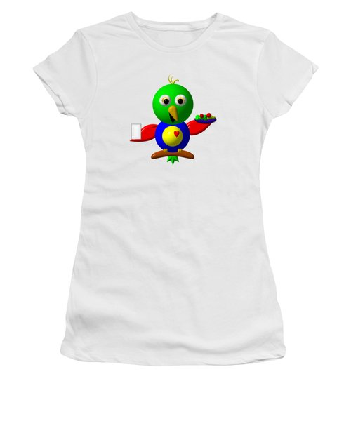 Cute Parrot With Healthy Salad And Milk Women's T-Shirt (Junior Cut) by Rose Santuci-Sofranko