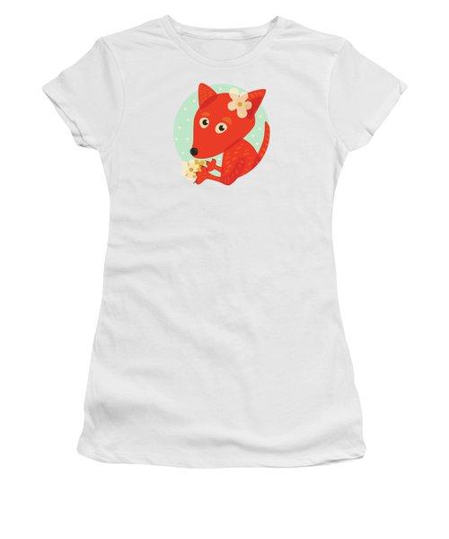 Cute Pretty Fox With Flowers Women's T-Shirt (Junior Cut)