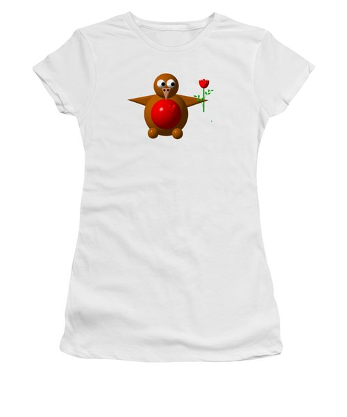 Cute Robin With Rose Women's T-Shirt (Junior Cut) by Rose Santuci-Sofranko