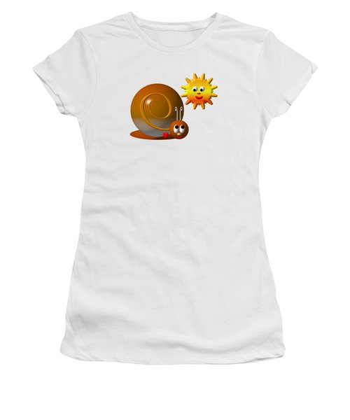Cute Snail With Smiling Sun Women's T-Shirt (Junior Cut) by Rose Santuci-Sofranko