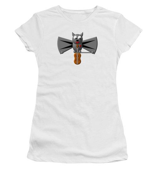 Cute Vampire Bat With Violin Women's T-Shirt