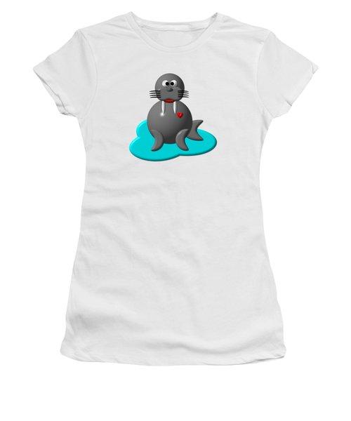 Cute Walrus In Water Women's T-Shirt