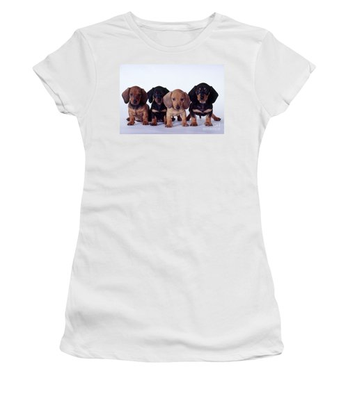 Dachshund Puppies  Women's T-Shirt (Junior Cut) by Carolyn McKeone and Photo Researchers