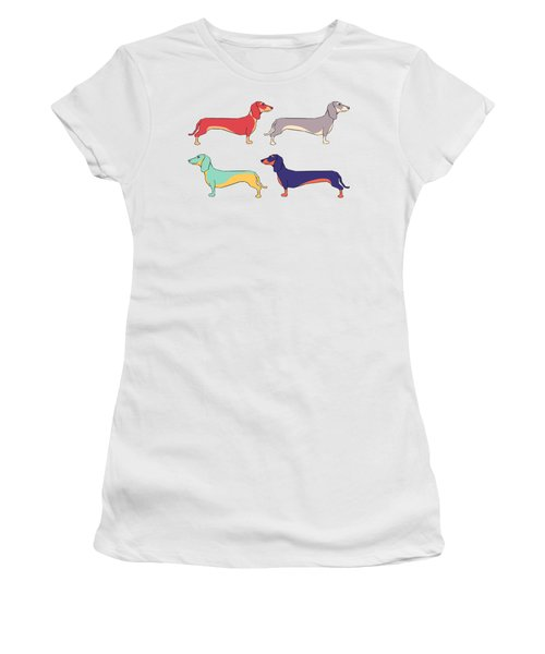 Dachshunds Women's T-Shirt (Junior Cut) by Kelly Jade King