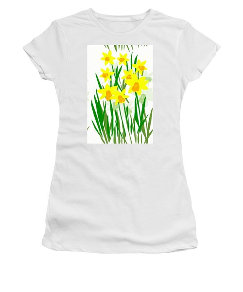 Daffodils Drawing Women's T-Shirt (Athletic Fit)