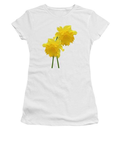 Daffodils On White Women's T-Shirt