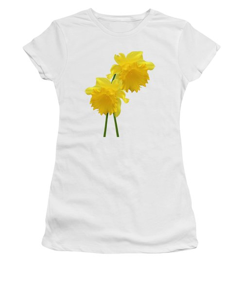 Daffodils On White Women's T-Shirt (Athletic Fit)