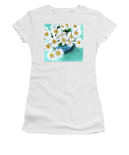 Daisies In Blue Bowl Women's T-Shirt (Athletic Fit)